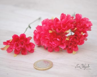 6 fabric zinnia flowers, coral pink floral Supplies, Artificial zinnia, silk flowers, wreath supplies, millinery supplies, coral pink colour