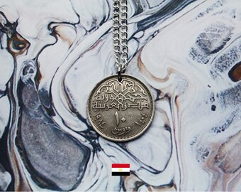 Egyptian 10 Piastres Handmade Silver Coin Necklace - Silver Plated Chain.