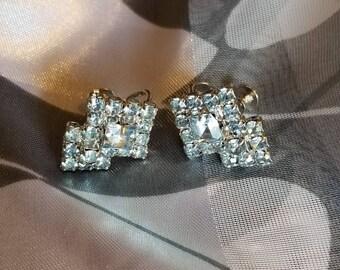 60's Rhinestone twist back earrings