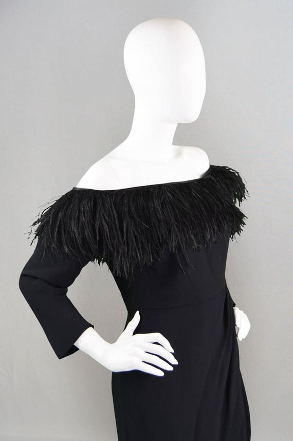 Ostrich Dress Black Little Vintage 80s Dress Feather Designer Crepe VALENTINO Dress Party Italian Evening Dress Black Dress Sexy 1980s Dress wq4OxZYpOt