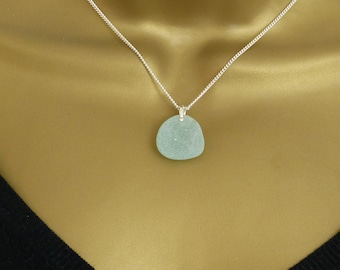 Pale Julep Sea Glass and Sterling Silver Necklace / BETHANY / Sea Glass Pendant Necklace / Sea Glass Necklace / Beach Jewelry