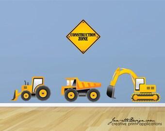 Truck Wall Decals, Construction Truck Wall Stickers, Construction Wall Art, Truck Wall Stickers