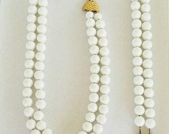 Vintage Monet White Bead Demi Parure Set