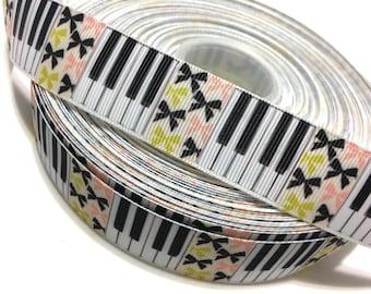"1"" Piano Ribbon, Keyboard Ribbon, Piano Grosgrain Ribbon, Piano Keyboard Grosgrain"
