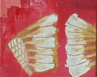 Our wings, deco image, original acrylic on canvas, modern art, 17 x 24 cm