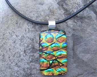 Rainbow Dichroic Necklace Dichroic Fused Glass Dichroic Jewelry
