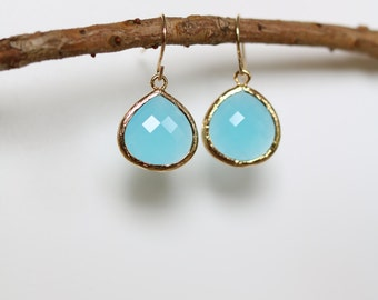 Ocean Blue Earrings - Gold Dangle Earrings - Stone Earrings - Drop Earrings - Birthstone Earrings - Chalcedony Earrings - Gold Earrings