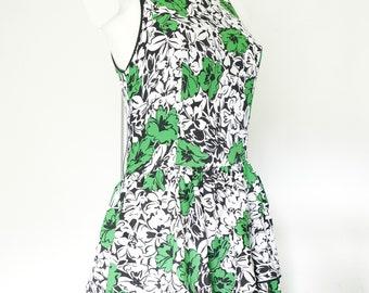 Vintage long dress-size C-dress retro dress-fitting dress-longue vintage robe-Long black green sleeveless dress-BLEU MARINE DESIGN