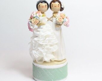 Custom Wedding Cake Topper with 2x CUSTOM CLOTHING