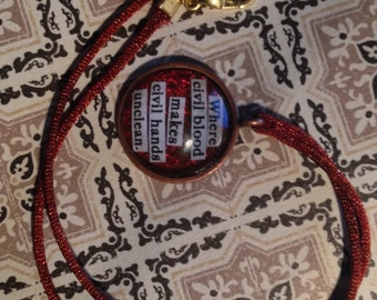 "Shakespeare Romeo and Juliet ""Where civil blood makes civil hands unclean"" Quote necklace"