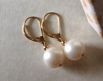 10mm Japanese Akoya Pearl Earrings 14k Yellow Gold Leverback Earrings