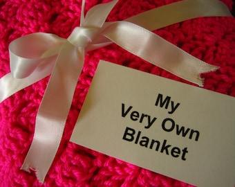 Hot Neon Pink Hand Crocheted Baby Blanket
