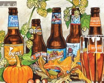 Wisconsin Oktoberfest Beer Garden Watercolor Art Print by James Steeno