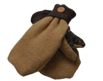 Recycled Sweater Mittens - Fleece lined - Snug and Warm