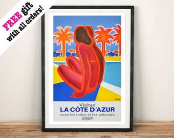 COTE D'AZUR POOL: Vintage French Travel Poster
