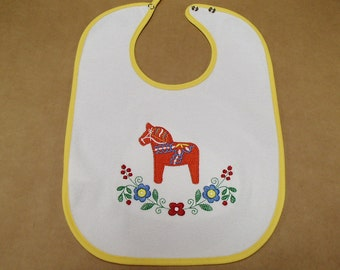 Scandinavian Embroidered Baby Bib - Swedish Dala Horse & Flowers