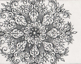 Original ACEO Black and White Snowflake 1