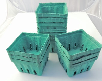 10 Aqua Green Pint Baskets, Pulp Berry Baskets, Recyclable Party Favor Boxes Wedding Gift Baskets Cookies Treats Baked Goods Party Favors,
