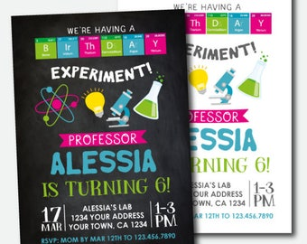 Science Birthday Invitation, Mad Scientist Party, Scientist Birthday Party, Personalized Digital Invitation, 2 options