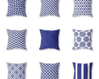 Mix Match Cushion Cover, Blue Cotton, Decorative Pillow, Throw, Chevron Zigzag, Geometric, Floral