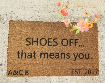 Custom Family Door Mat, SHOES OFF, Wedding gift, Housewarming gift, Home Decor Welcome Mat, Personalized