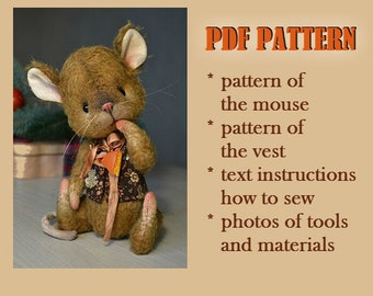 PDF sewing pattern teddy bear toy pattern download Artis teddy toy  digital pdf pattern mouse collectible mouse  sewing turtural pattern