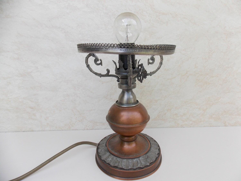 Vintage Pressed Brass Boudoir Bedroom Lamp Nightstand Lamp