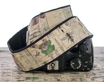 Camera Strap, Vintage Style Botanical Entomology, Bugs, dSLR, Camera Neck Strap, Canon camera strap, Nikon camera strap, Men's Women's,  265