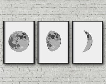 Moon Phase Print, Set of 3 Moon print, Kids Educational print, Moon poster, Phases of the Moon