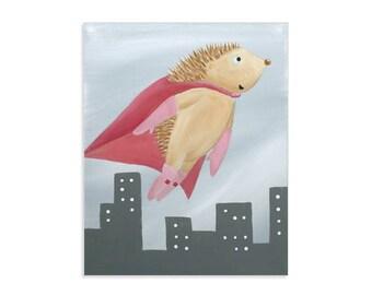 Hedgehog Superhero - Woodland Heroes Prints - Animal Superheroes