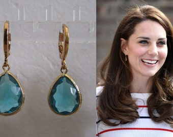 Limited Edition Kate Middleton Duchess of Cambridge Inspired Replikate Tear Drop Multicolored Blue Green Purple Crystal Hoop Earrings