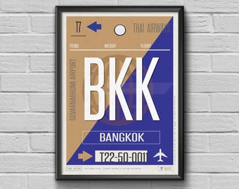 Bangkok Luggage Tag Print, Bangkok Framed Travel Decor, BKK Airport Code,Bangkok Art Print Gift for Travellers,Thailand Souvenir Baggage Tag