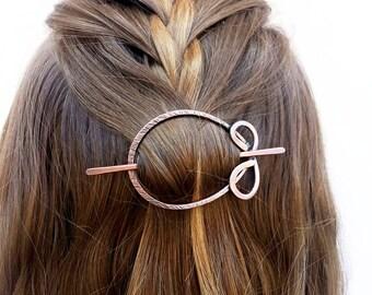 Boho Haarspange Kreis Haarspange Oval Haarspange rustikalen Haarspange Metall Stift rustikale Kupfer Folie Schal Stift frauengeschenk für Sie
