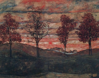 Egon Schiele: Four Trees. Fine Art Print/Poster (00145)