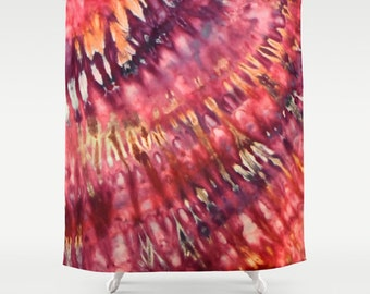 Fabric Shower Curtain-Pink Purple Orange Tie Dye-Decorative Shower Curtain-71x74 inches,