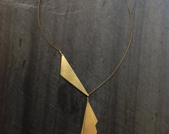 Brass Geometric In Bloom Necklace-By Loop Jewelry-Hand Cut Brass Geometric Necklace- Brass Necklace-Deco Necklace-Jewelry-Portland Style