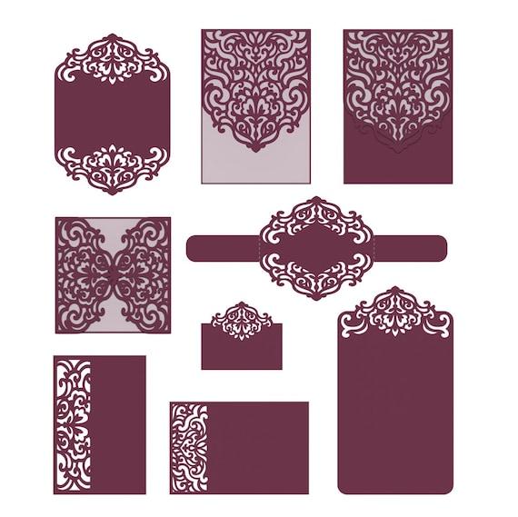Laser Cut Wedding Invitation Templates Card Envelope Belly - Laser cut wedding invitation templates