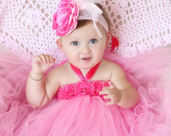 Gorgeous Beautiful Hot Pink Flower Tutu Dress for Baby Girl 6-18 Months First Birthday
