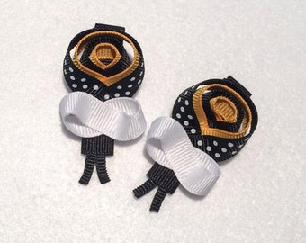 Bumble Bee Hair Clip Set - Set of 2 - 2.25 inch sculptured hair clip accessories - Handmade Bees Clippies