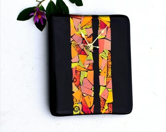 Wall clock, fused dichroic glass, rectangle, black, gold, orange, red,  hanging wall clock