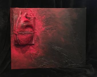 Abstract mixed media 3D heart artwork - plaster and acrylic on canvas
