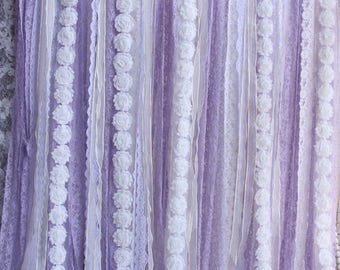 purple lace white flowers backdrop props photography,baby shower backdrop Wedding ceremony stage, birthday,backdrop party Garland,curtain