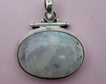 Large chunky rainbow moonstone sterling silver pendant ~ boho, vintage 1990s necklace