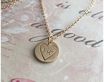 Heart Initials Necklace - Personalized Lovers Initials - Customized Necklace with Initials - Hand Stamped Initials - Gold Disc Stamped Heart