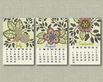 INSTANT DOWNLOAD/Mini calendar 2018/Office planner/Desk Calendar/Instant calendar/Printable calendar 2018/Gift for Mom/Floral calendar/JPEG