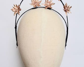 Rose Gold leather flower halo fascinator headpiece headband