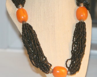 Vintage Amber Bead and Black Glass Bead Multi Strand Torsade Sterling Necklace, Chunky Statement Necklace