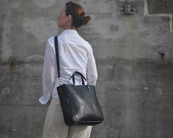 Black Leather Shoulder Bag with zipper, Cross body Leather Tote, Italian Leather Handbag, Leather Laptop Bag, Leather Tote Bag, Leather Bag