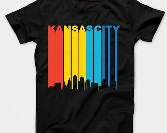 Retro 1970's Style Kansas City Missouri Downtown Skyline Kids T-Shirt