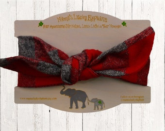 Top Knot Headband || Knotted Headband - Red Gray Buffalo Plaid over Warm and Soft Flannel Fabric